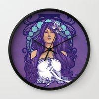 nouveau Wall Clocks featuring Iris Nouveau by Karen Hallion Illustrations