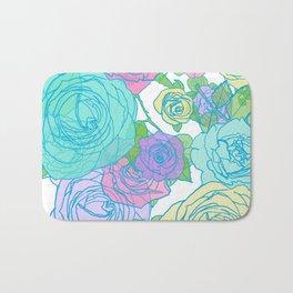 Pop Roses in Bright Preppy Colors Bath Mat
