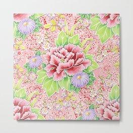 Pink Paisley Kimono Bouquet Metal Print