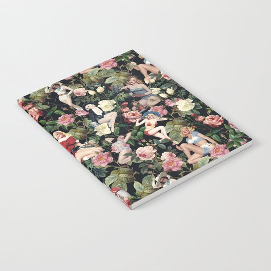 Floral and Pin Up Girls Pattern Notebook