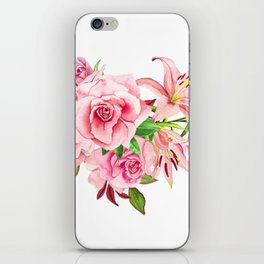 Flowers roses and Lilies watercolor iPhone Skin