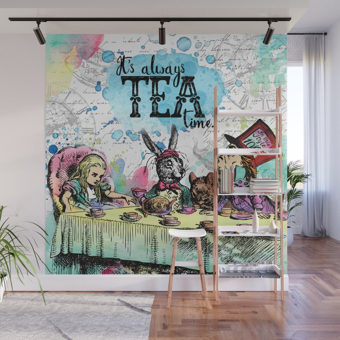 Alice in Wonderland Tea Time Wall Mural by evieseo Society6