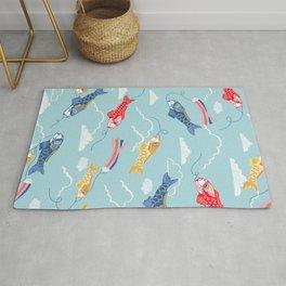 Koi carp kite day Japanese print pattern Rug