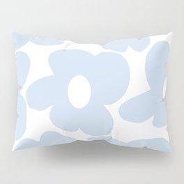 Large Baby Blue Retro Flowers White Background #decor #society6 #buyart Pillow Sham
