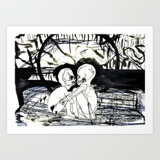 Dock Bench: Flirting with the core's allure  Art Print