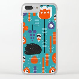 Modern birds and sleepy cats Clear iPhone Case
