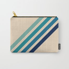 Vintage Retro 70s Blue Tone Stripes Carry-All Pouch