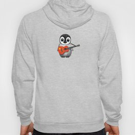 Baby Penguin Playing Chinese Flag Acoustic Guitar Hoody