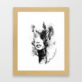 BLACK N WHITE WOMEN ABSTRACT FACE-LOVE Framed Art Print
