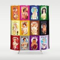 calendar Shower Curtains featuring Zodiac Calendar by Rosalie Lingo