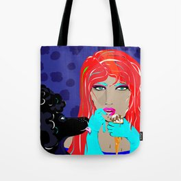 """Black Poodle"" Paulette Lust's Original, Contemporary, Whimsical, Colorful Art  Tote Bag"