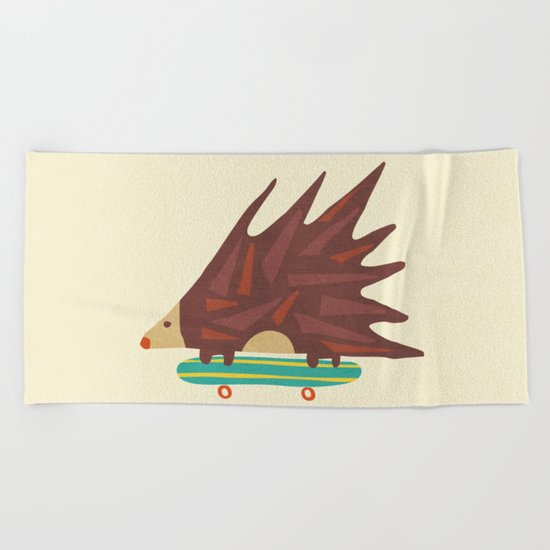 Hedgehog in hair raising speed Beach Towel