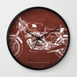 2010 Moto Guzzi V7 Clubman Racer red blueprint Wall Clock