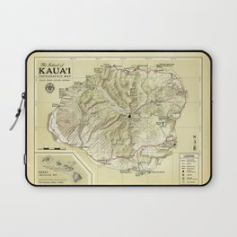 The Island of Kauai [vintage inspired] Topographic Map Laptop Sleeve