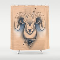 ram Shower Curtains featuring Capricorn / Ram by pakowacz