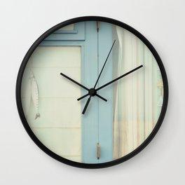 Beach Hut window - blue Wall Clock