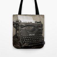typewriter Tote Bags featuring typewriter by planejane