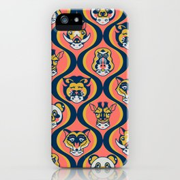 Baby Face Wearing Animal Hats Pattern - Coral Color iPhone Case