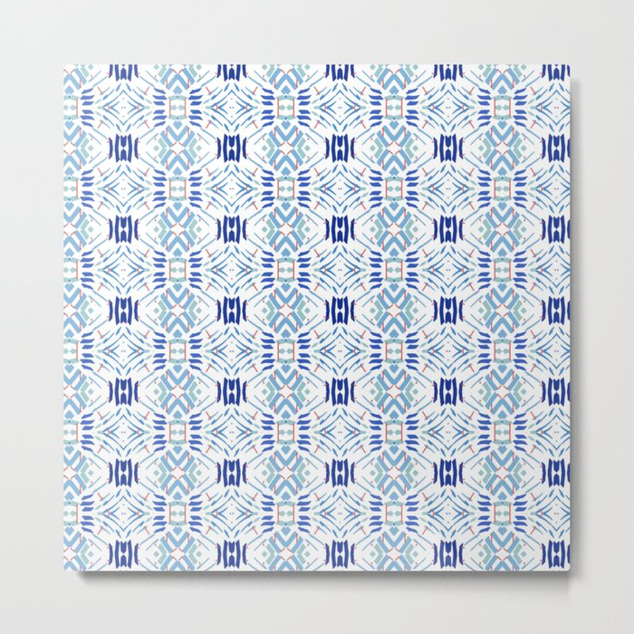 Asian Blue - inspired by Japanese textiles Metal Print
