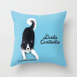 Border Controllie (Blue Background) Throw Pillow