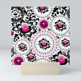Vintage shabby Chic ornament with Pink and Black flowers and leaves Mini Art Print