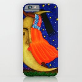'Girl on the Moon with the Stars in her Hand' in the style of R. Morales (Artist Unknown) iPhone Case