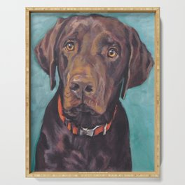 Chocolate lab LABRADOR RETRIEVER dog portrait painting by L.A.Shepard fine art Serving Tray