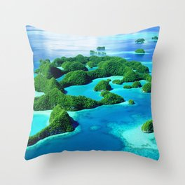 Glimpses of Heaven: Palau 70 Islands In Micronesia Throw Pillow