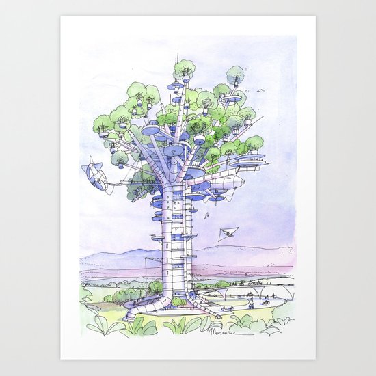 La Citta' albero... Art Print