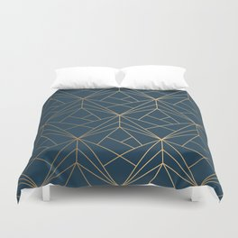 Benjamin Moore Hidden Sapphire Gold Geometric Pattern With White Shimmer Duvet Cover