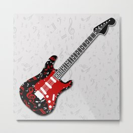 Music Notes Electric Guitar Metal Print