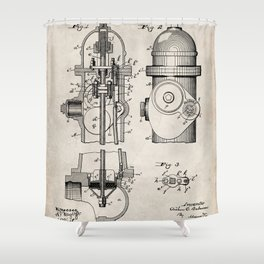 Fire Fighter Patent - Fire Hydrant Art - Antique Shower Curtain