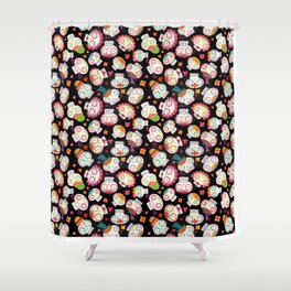 Sugar Skulls and Flowers Shower Curtain