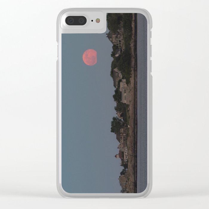 Full Strawberry Moon Rising over Rockport Clear iPhone Case