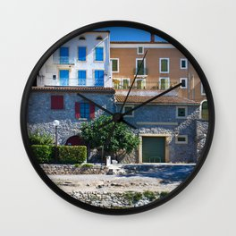 old houses on the canal du midi, france Wall Clock