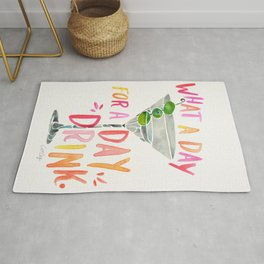 What a Day for a Day Drink – Melon Typography Rug