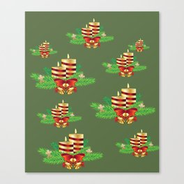Decorative Christmas Candle Canvas Print