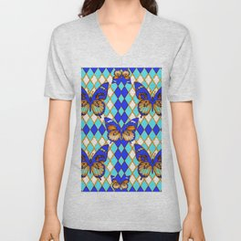 ARGYLE ABSTRACTED  BROWN SPICE  MONARCHS BUTTERFLY & BLUE-WHITE Unisex V-Neck