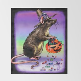 Trick or Treating Mouse Throw Blanket