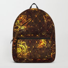 Diamond Rose Pattern - Maroon and Gold Backpack