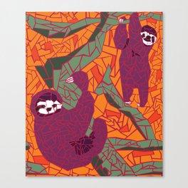 Sloth Mosaic Canvas Print