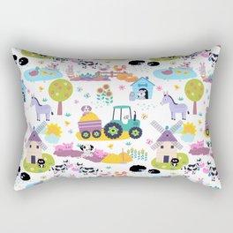 Farm Life Pink Pastel Barn Animals Pattern Rectangular Pillow