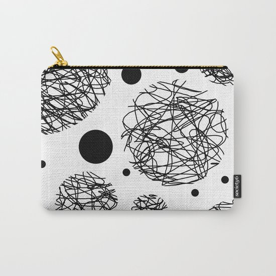 Scribbles - Black and white scribbles and black circles pattern on white Carry-All Pouch