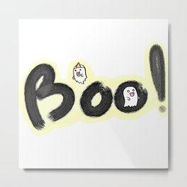 Ghost Boo! Halloween spooky doodle lettering hand drawn. Metal Print