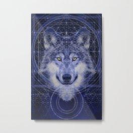 Wolf Geometry Metal Print
