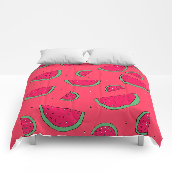 The Joy of Eating Watermelon in the Summer Comforters