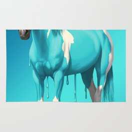 Cyan Blue Funny Wet Paint Horse Rug