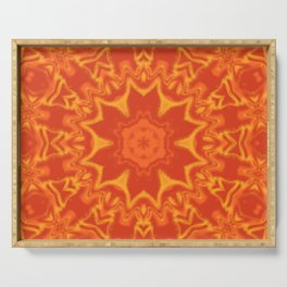 Red Orange and Yellow Kaleidoscope 5 Serving Tray