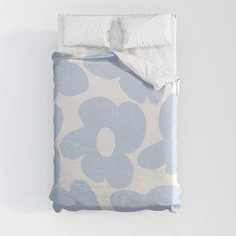 Large Baby Blue Retro Flowers White Background #decor #society6 #buyart Duvet Cover