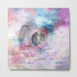 Moon Glitch Echos - Magenta Blue Metal Print